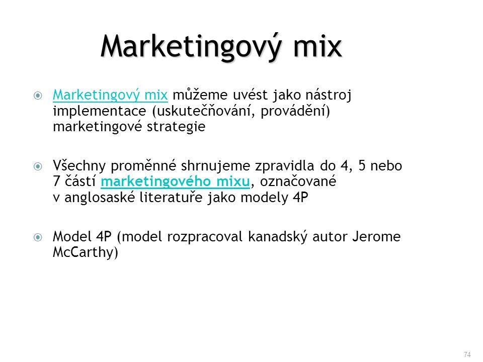 Marketingový mix Marketingový mix můžeme uvést jako nástroj implementace (uskutečňování, provádění) marketingové strategie.