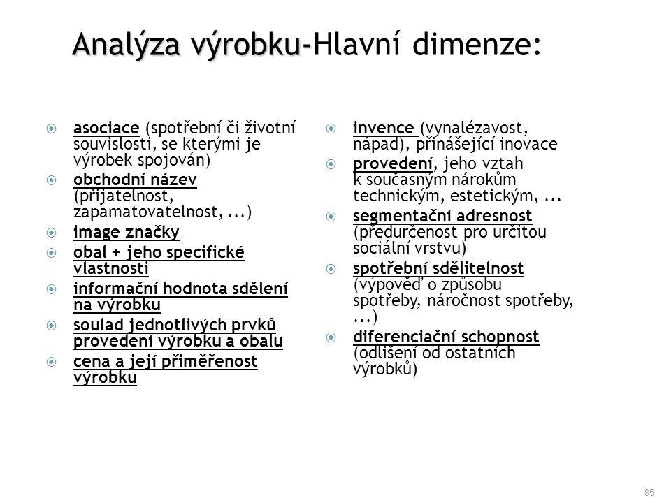 Analýza výrobku-Hlavní dimenze: