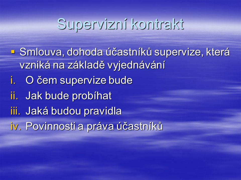 Supervizní kontrakt Smlouva, dohoda účastníků supervize, která vzniká na základě vyjednávání. O čem supervize bude.