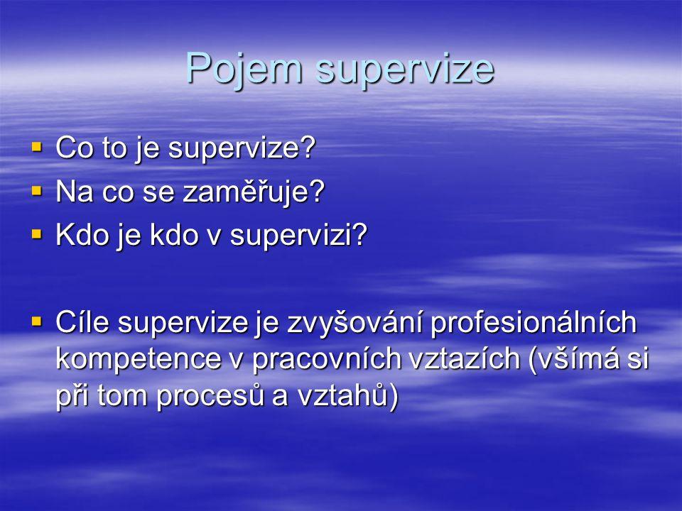 Pojem supervize Co to je supervize Na co se zaměřuje