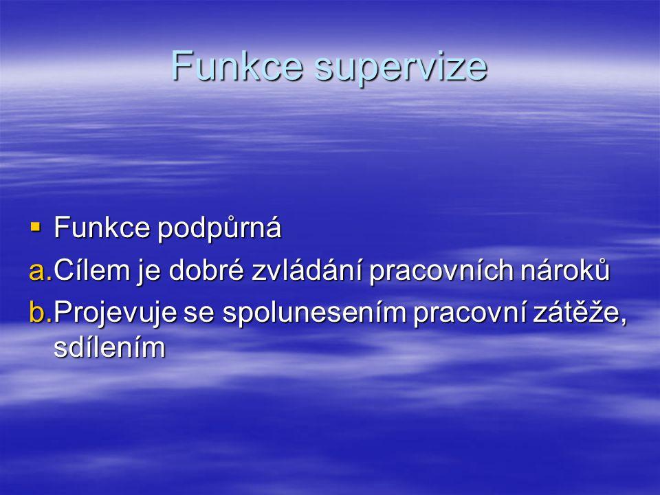 Funkce supervize Funkce podpůrná