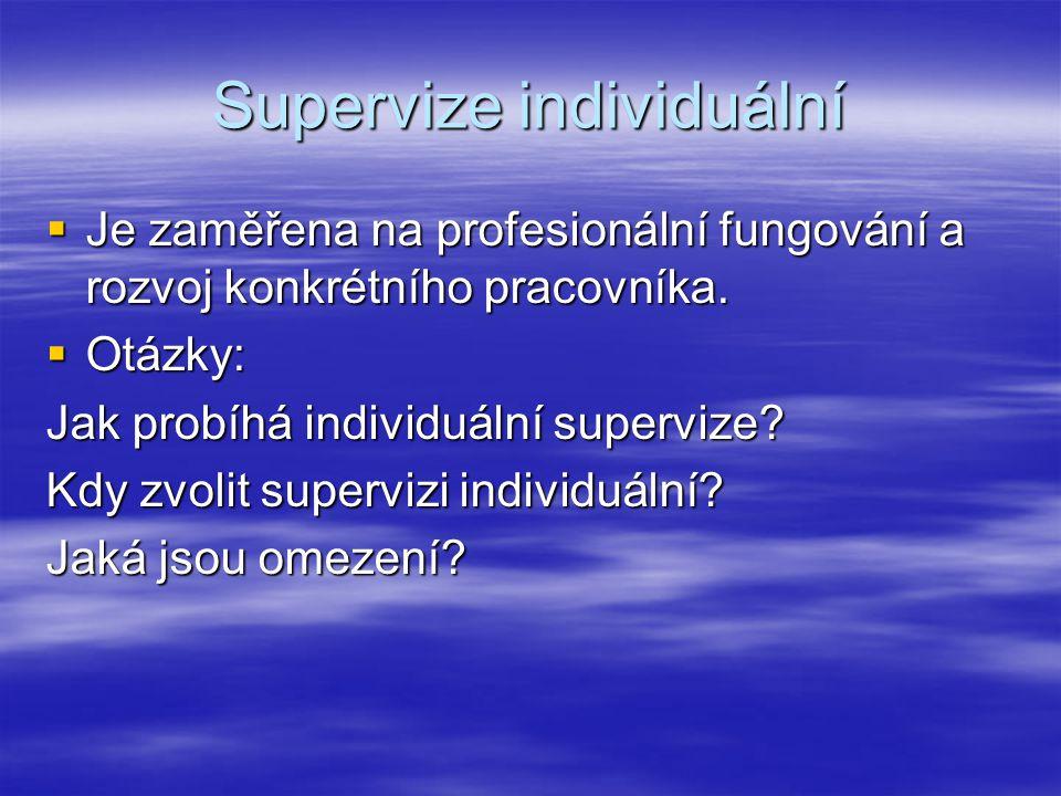 Supervize individuální