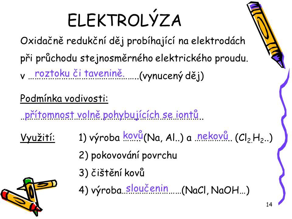 ELEKTROLÝZA Oxidačně redukční děj probíhající na elektrodách