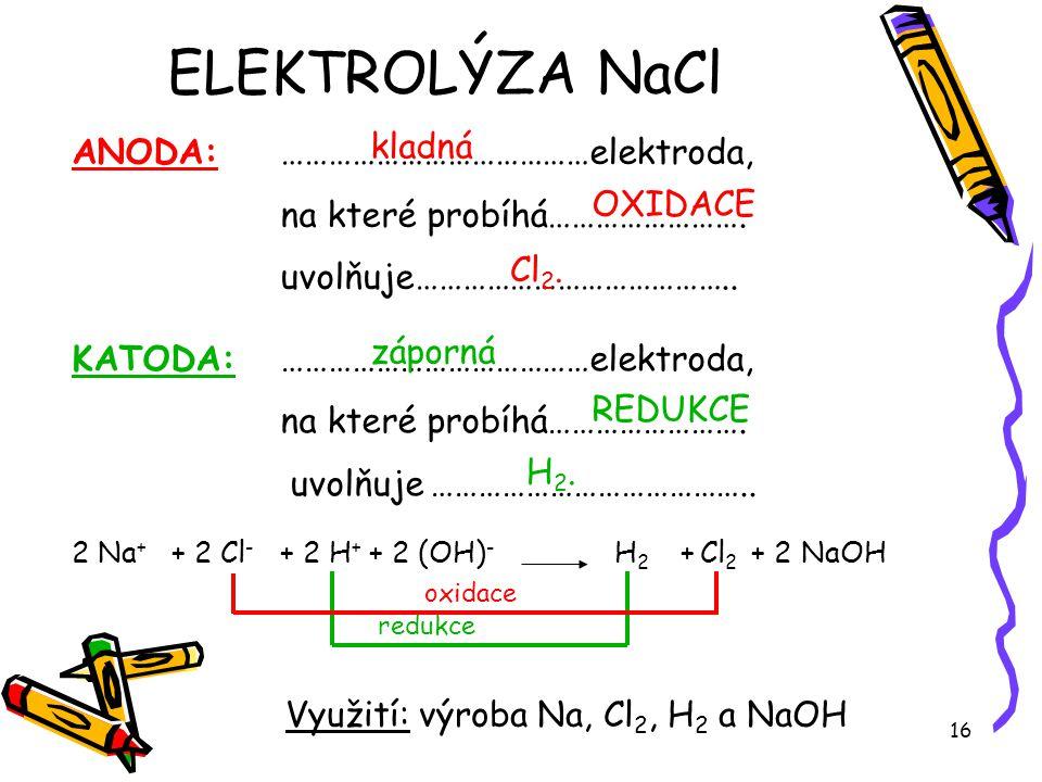 ELEKTROLÝZA NaCl ANODA: …………………………………elektroda,