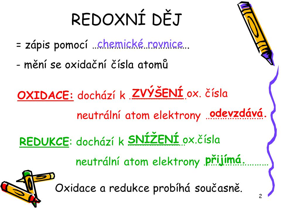REDOXNÍ DĚJ chemické rovnice = zápis pomocí ………………………………….