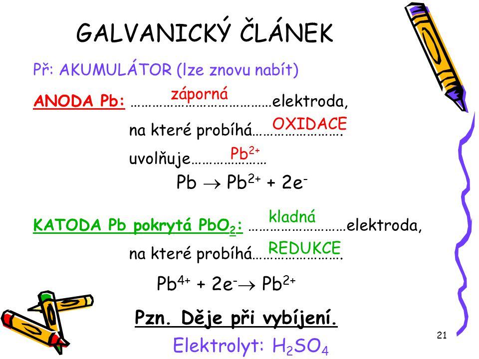 GALVANICKÝ ČLÁNEK Pb  Pb2+ + 2e- Pb4+ + 2e- Pb2+