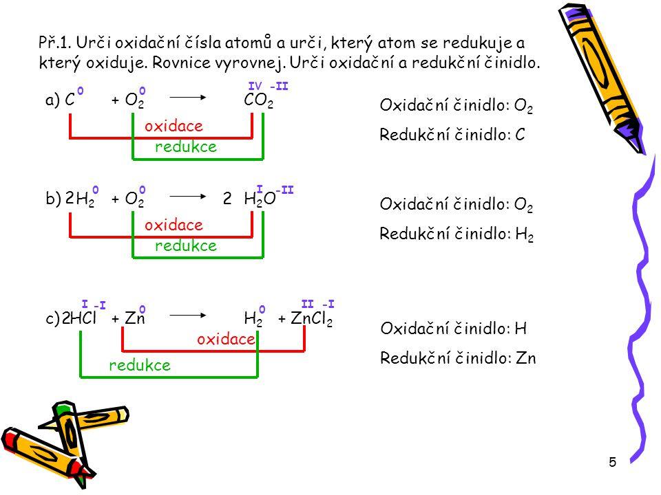 Př.1. Urči oxidační čísla atomů a urči, který atom se redukuje a který oxiduje. Rovnice vyrovnej. Urči oxidační a redukční činidlo.