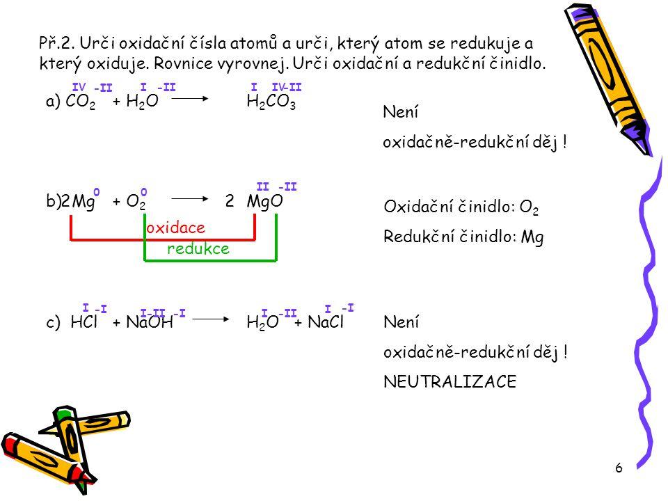 Př.2. Urči oxidační čísla atomů a urči, který atom se redukuje a který oxiduje. Rovnice vyrovnej. Urči oxidační a redukční činidlo.