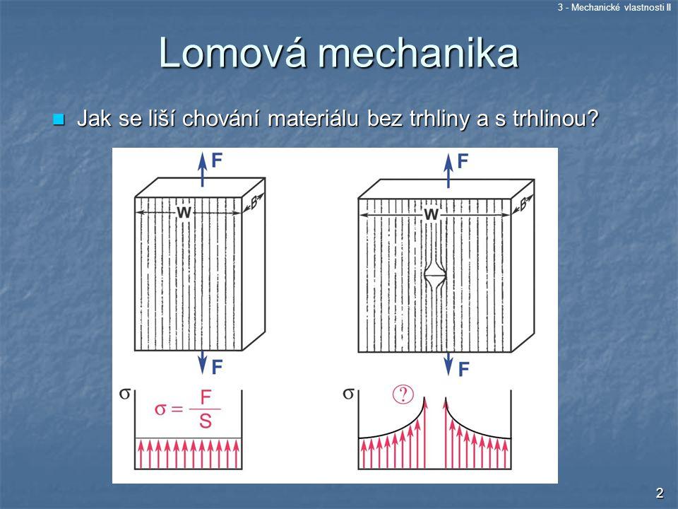 Lomová mechanika Jak se liší chování materiálu bez trhliny a s trhlinou
