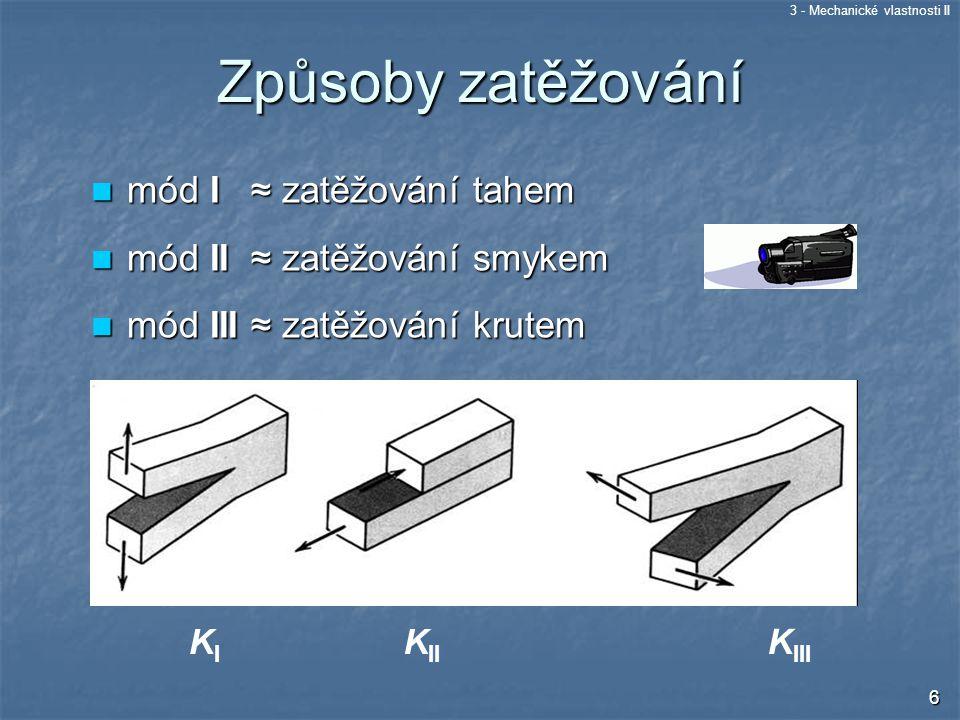 Způsoby zatěžování mód I ≈ zatěžování tahem mód II ≈ zatěžování smykem
