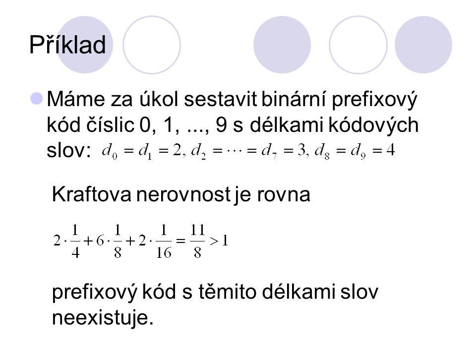 Příklad Máme za úkol sestavit binární prefixový kód číslic 0, 1, ..., 9 s délkami kódových slov: Kraftova nerovnost je rovna.