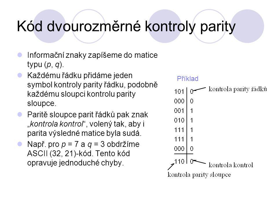Kód dvourozměrné kontroly parity