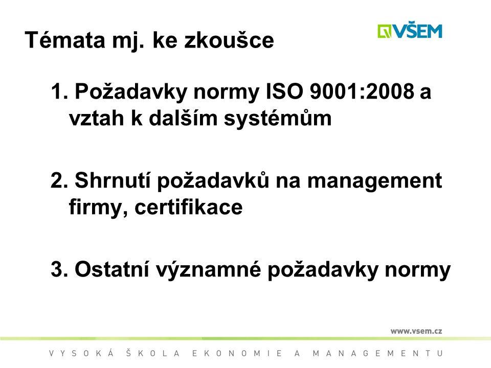 Témata mj. ke zkoušce 1. Požadavky normy ISO 9001:2008 a vztah k dalším systémům. 2. Shrnutí požadavků na management firmy, certifikace.