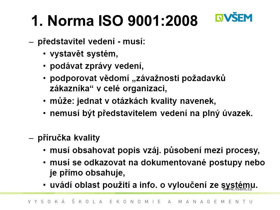 1. Norma ISO 9001:2008 představitel vedení - musí: vystavět systém,