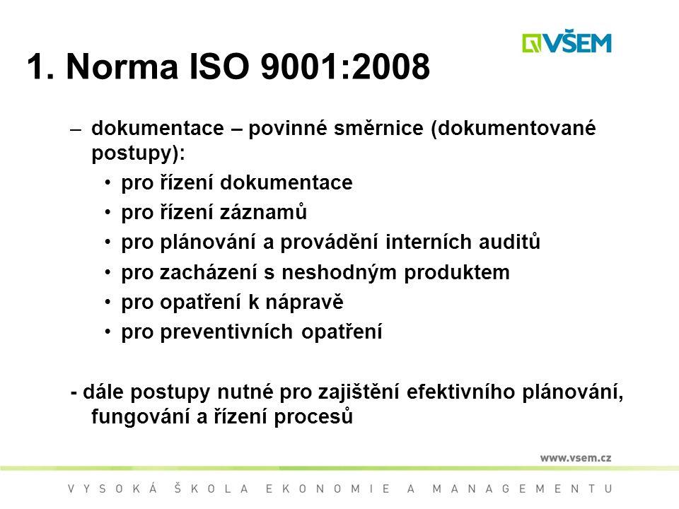 1. Norma ISO 9001:2008 dokumentace – povinné směrnice (dokumentované postupy): pro řízení dokumentace.