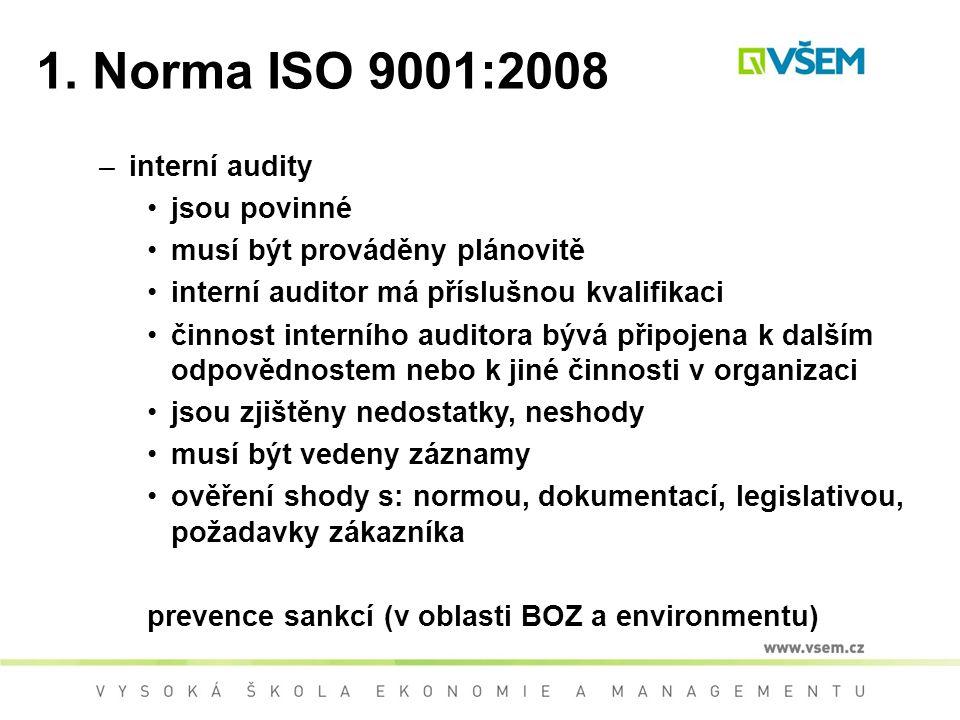 1. Norma ISO 9001:2008 interní audity jsou povinné