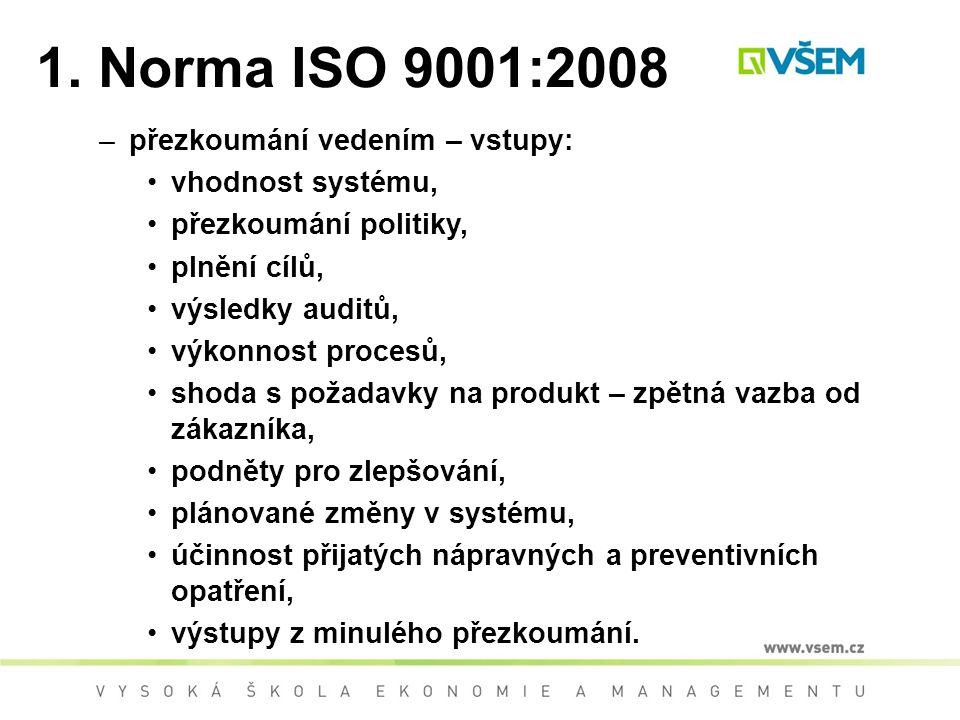 1. Norma ISO 9001:2008 přezkoumání vedením – vstupy: vhodnost systému,