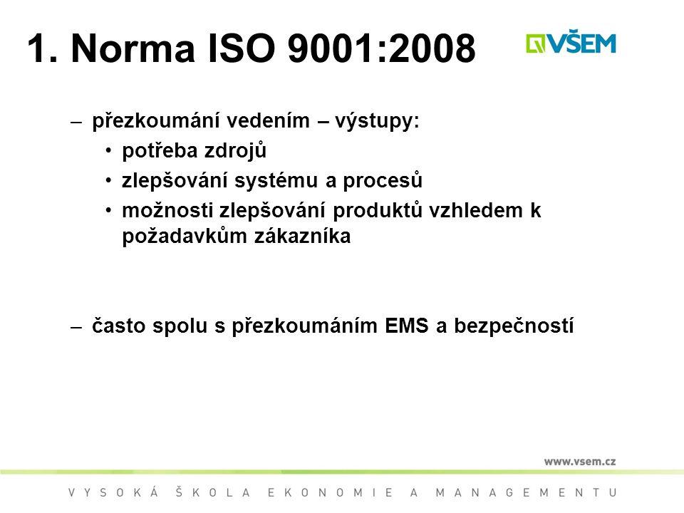 1. Norma ISO 9001:2008 přezkoumání vedením – výstupy: potřeba zdrojů