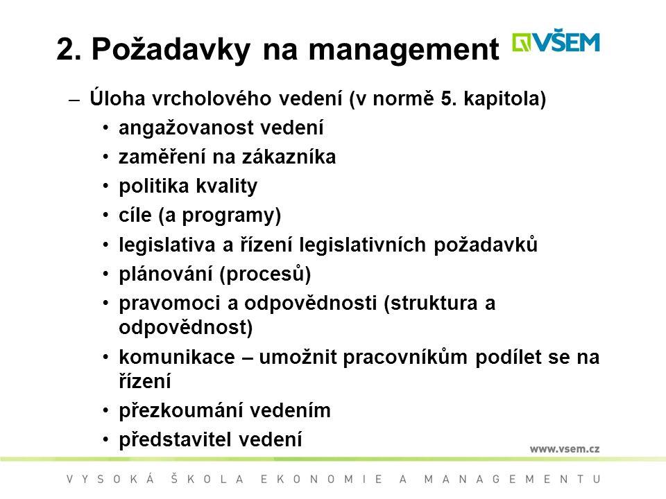 2. Požadavky na management