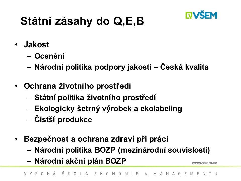 Státní zásahy do Q,E,B Jakost Ochrana životního prostředí