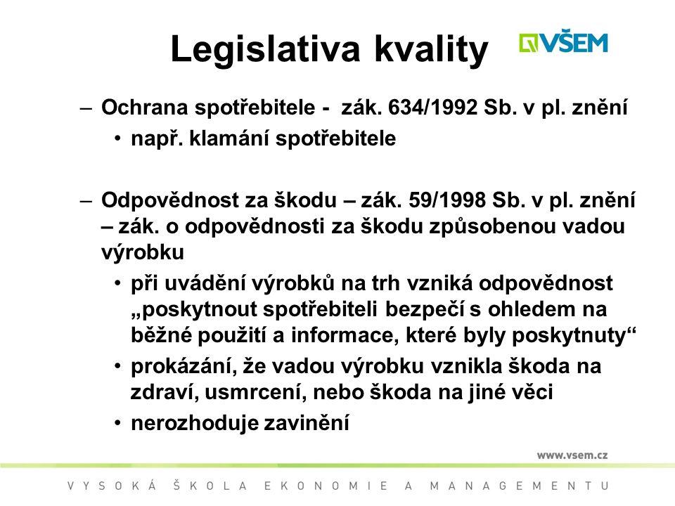 Legislativa kvality Ochrana spotřebitele - zák. 634/1992 Sb. v pl. znění. např. klamání spotřebitele.