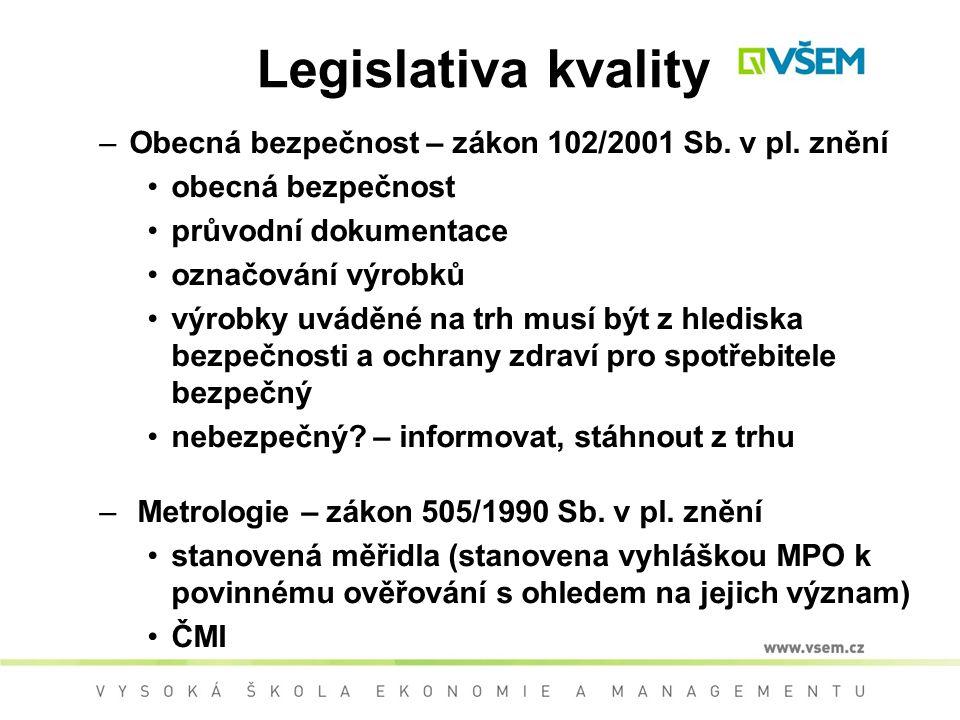 Legislativa kvality Obecná bezpečnost – zákon 102/2001 Sb. v pl. znění