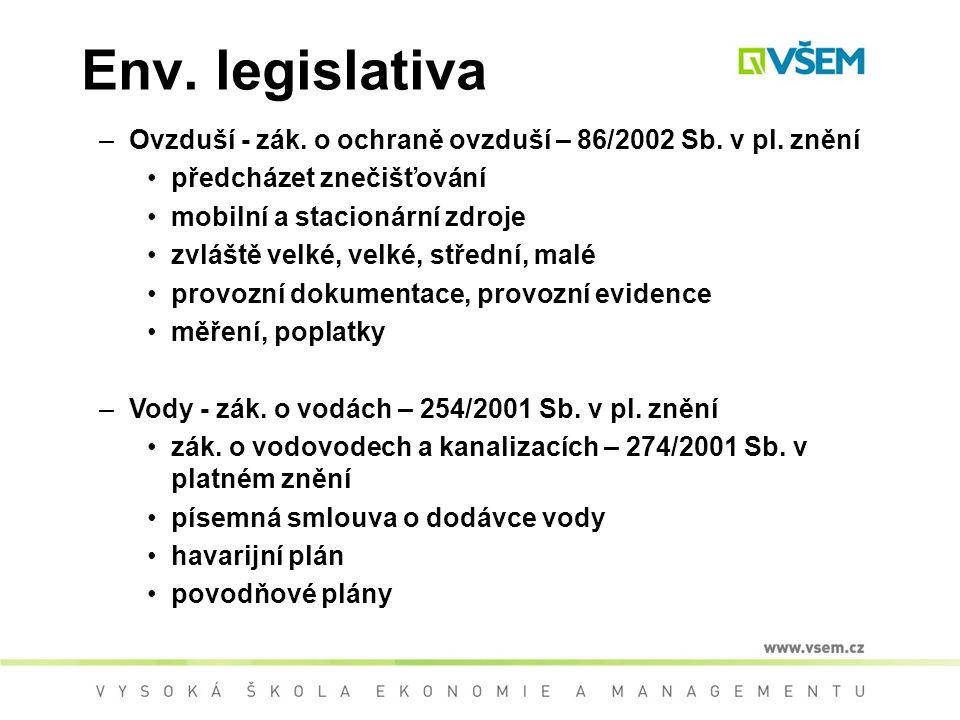 Env. legislativa Ovzduší - zák. o ochraně ovzduší – 86/2002 Sb. v pl. znění. předcházet znečišťování.