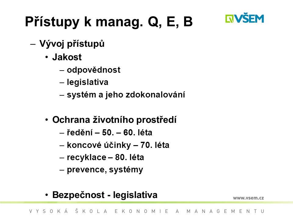 Přístupy k manag. Q, E, B Vývoj přístupů Jakost