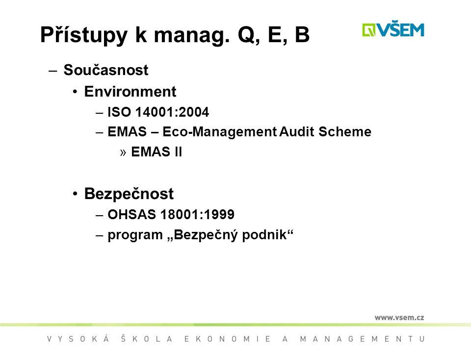 Přístupy k manag. Q, E, B Bezpečnost Současnost Environment