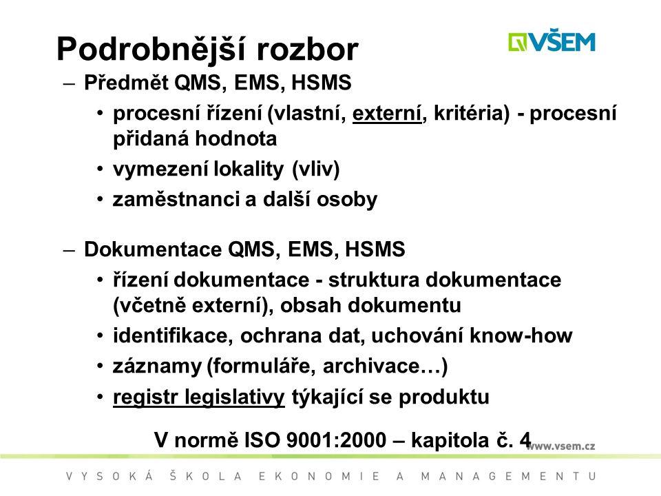 V normě ISO 9001:2000 – kapitola č. 4