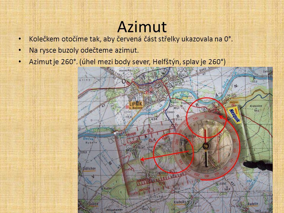 Azimut Kolečkem otočíme tak, aby červená část střelky ukazovala na 0°.
