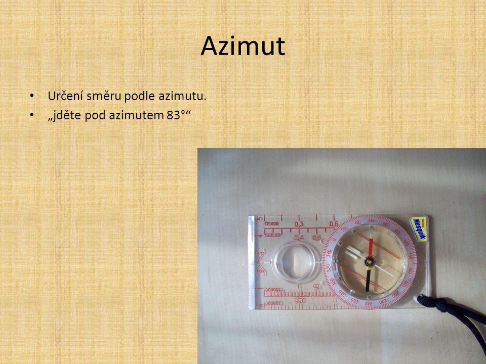 """Azimut Určení směru podle azimutu. """"jděte pod azimutem 83°"""