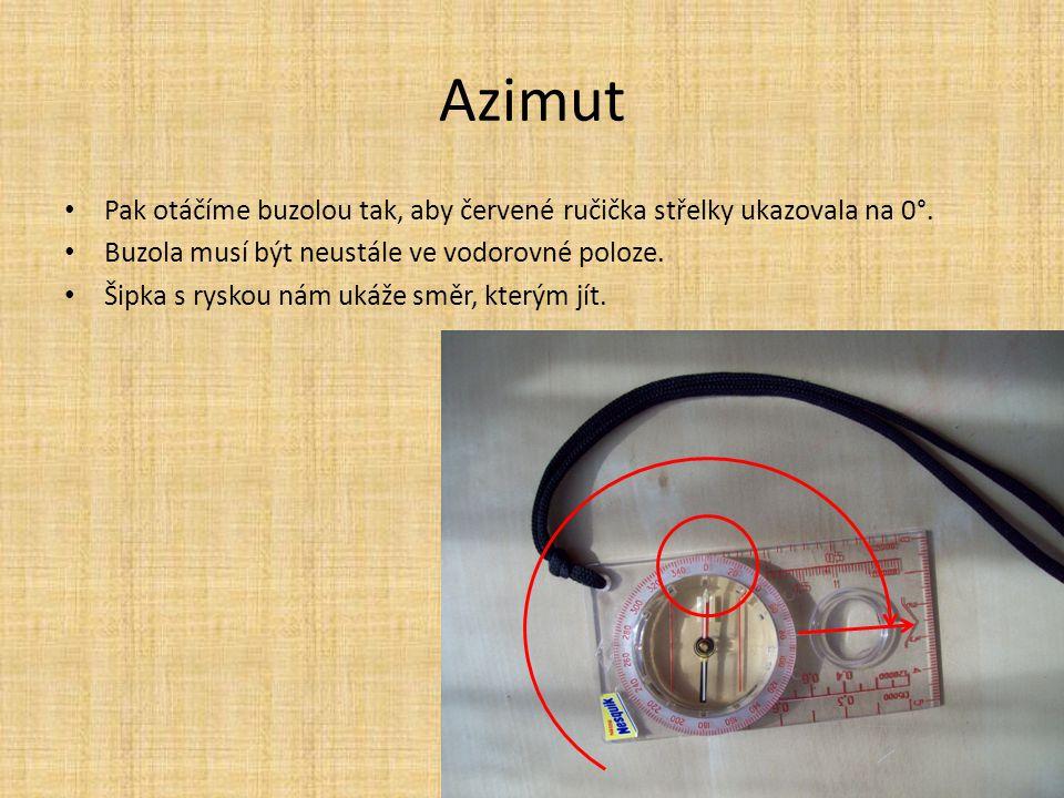 Azimut Pak otáčíme buzolou tak, aby červené ručička střelky ukazovala na 0°. Buzola musí být neustále ve vodorovné poloze.