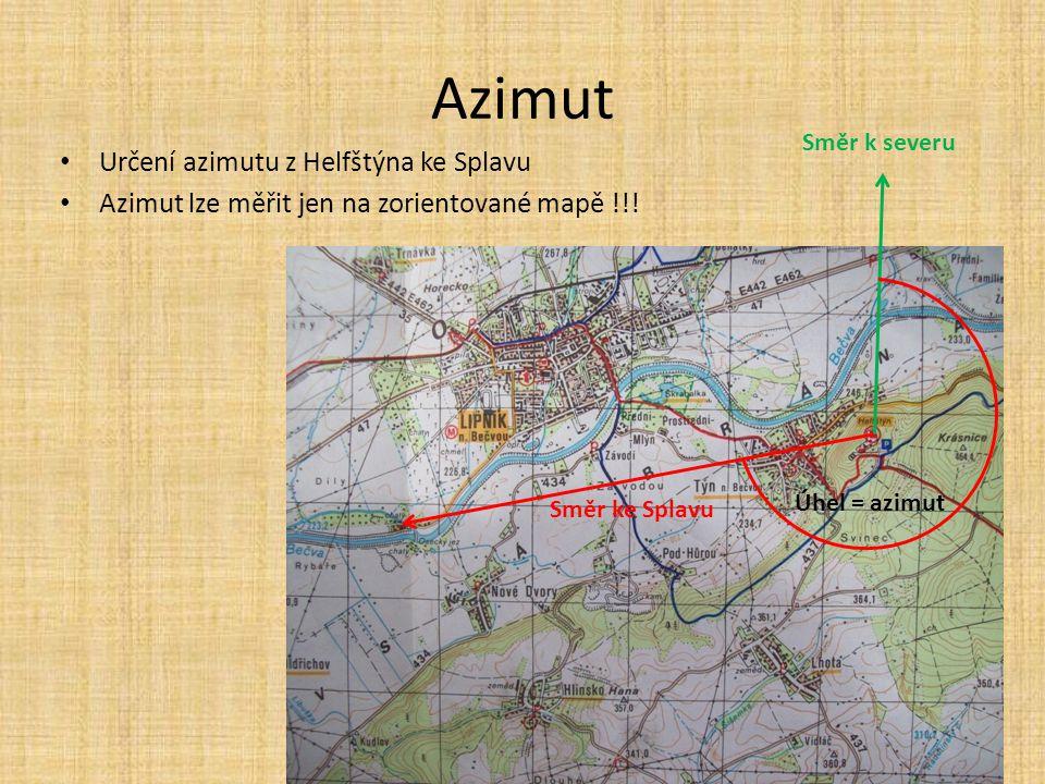 Azimut Určení azimutu z Helfštýna ke Splavu