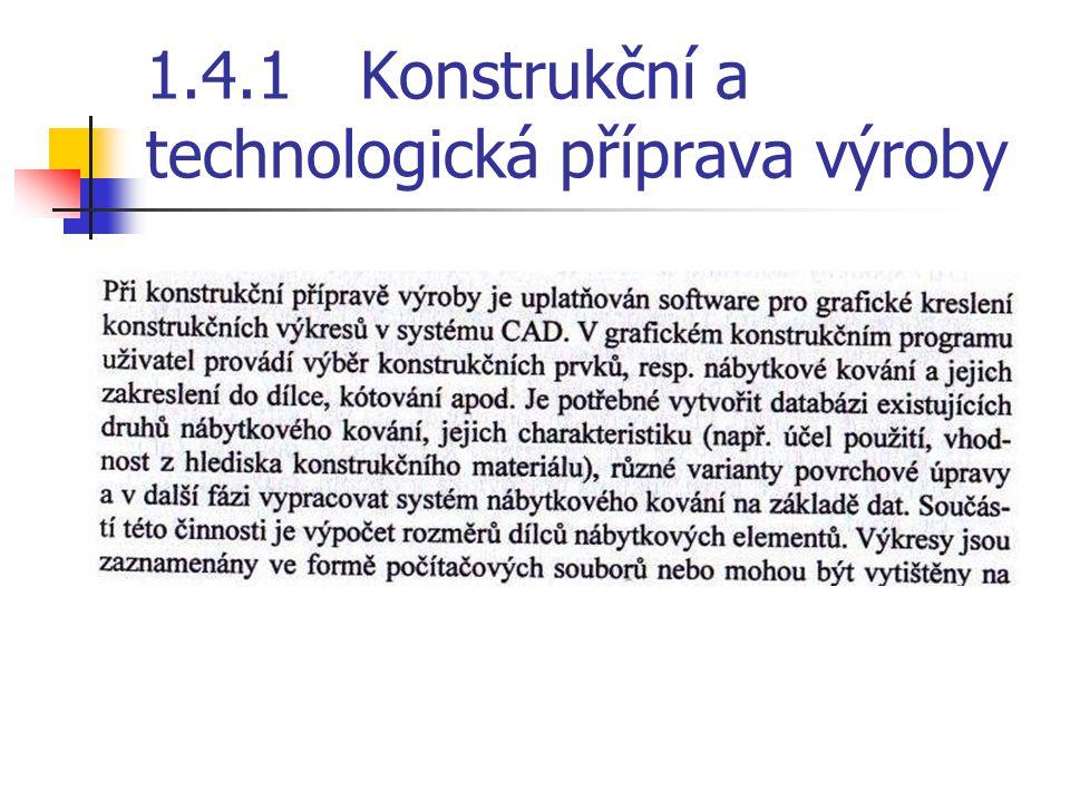 1.4.1 Konstrukční a technologická příprava výroby