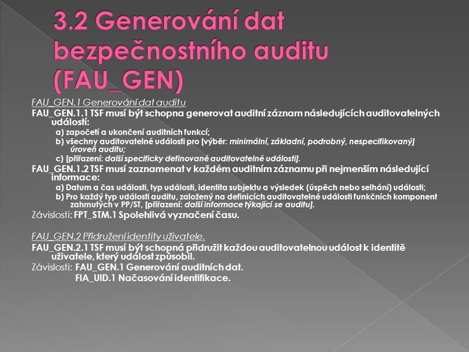 3.2 Generování dat bezpečnostního auditu (FAU_GEN)
