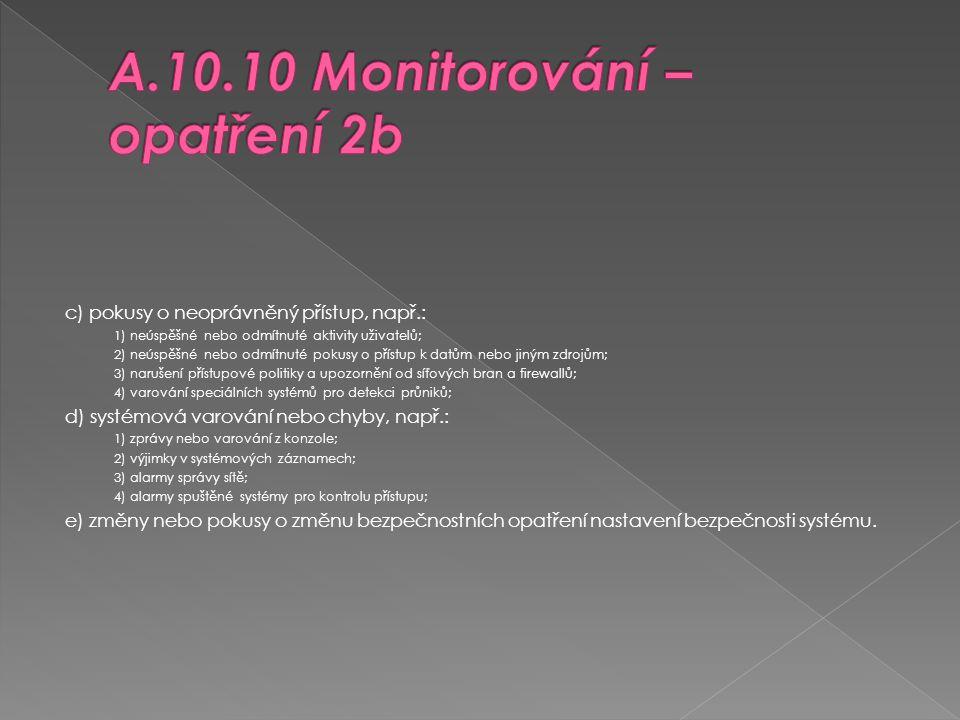 A.10.10 Monitorování – opatření 2b