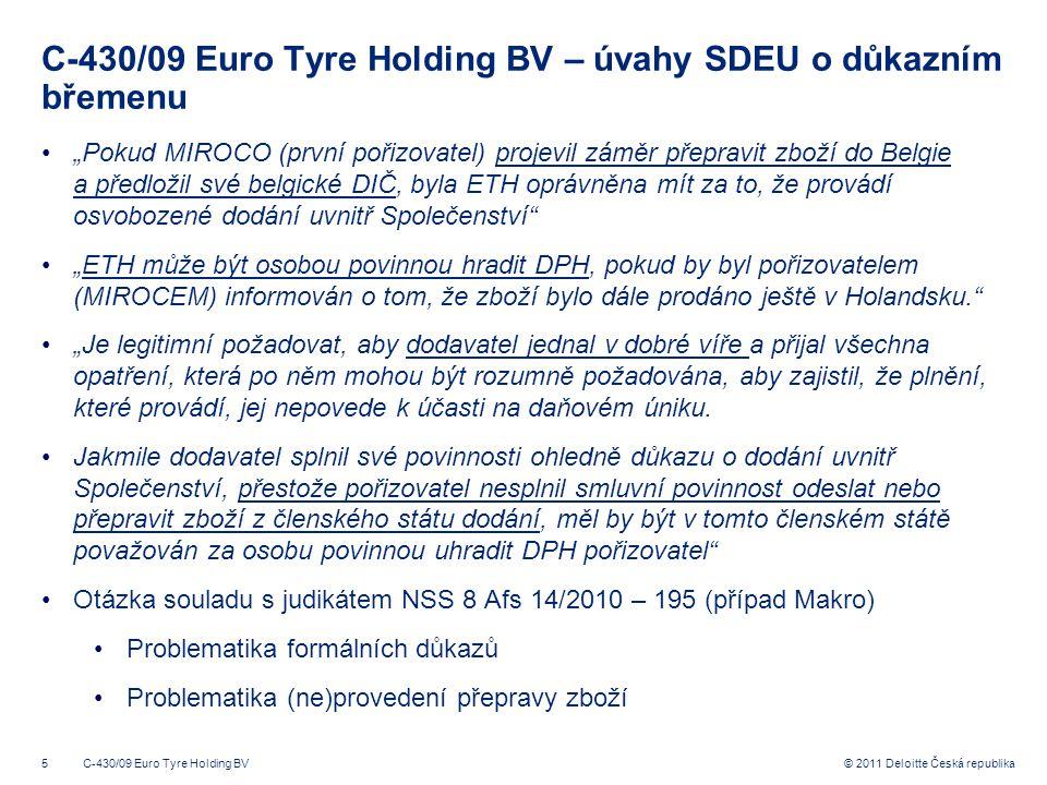 C-430/09 Euro Tyre Holding BV – úvahy SDEU o důkazním břemenu