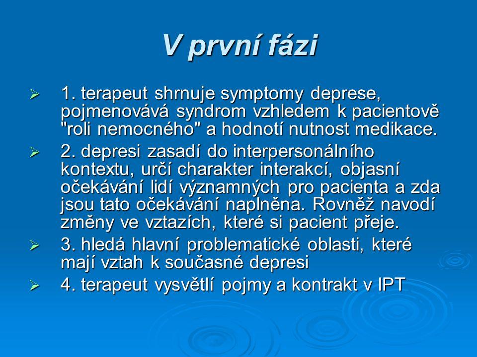V první fázi 1. terapeut shrnuje symptomy deprese, pojmenovává syndrom vzhledem k pacientově roli nemocného a hodnotí nutnost medikace.