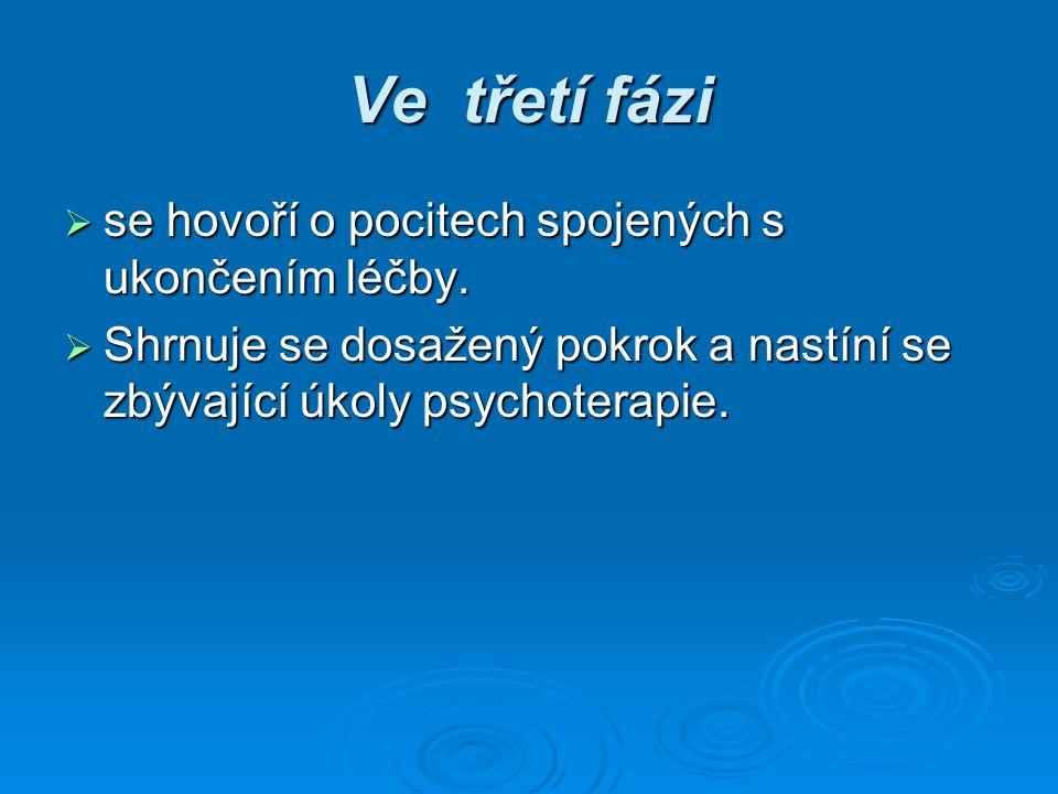Ve třetí fázi se hovoří o pocitech spojených s ukončením léčby.