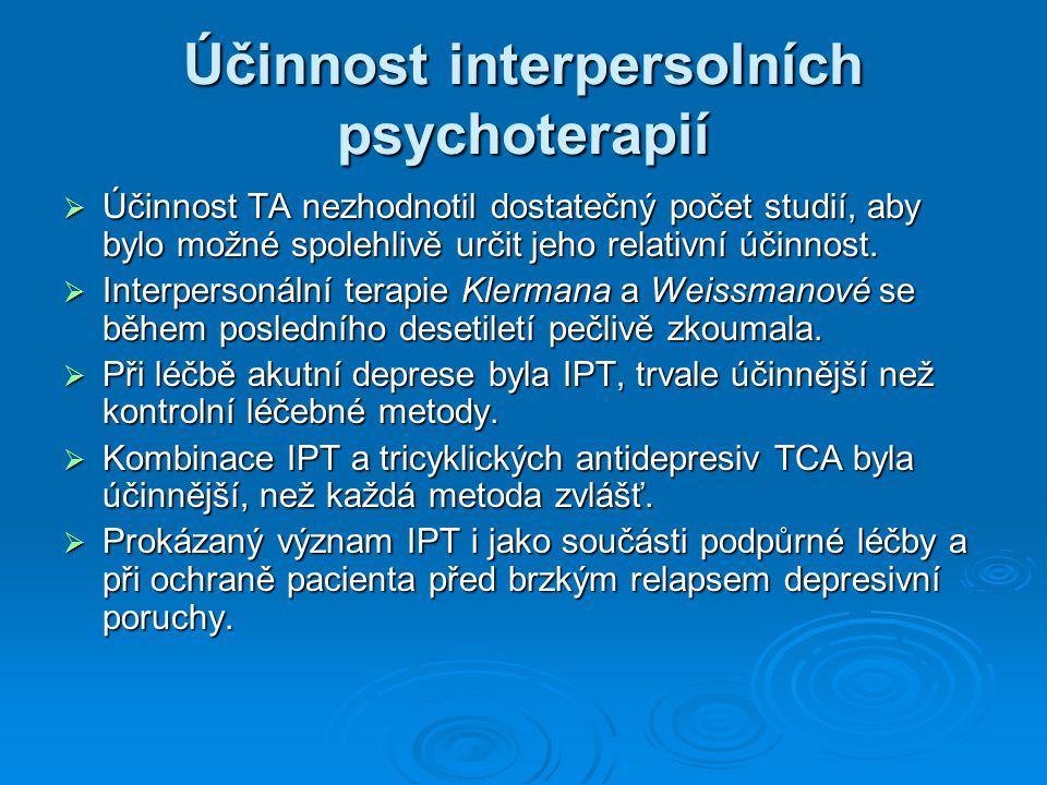 Účinnost interpersolních psychoterapií
