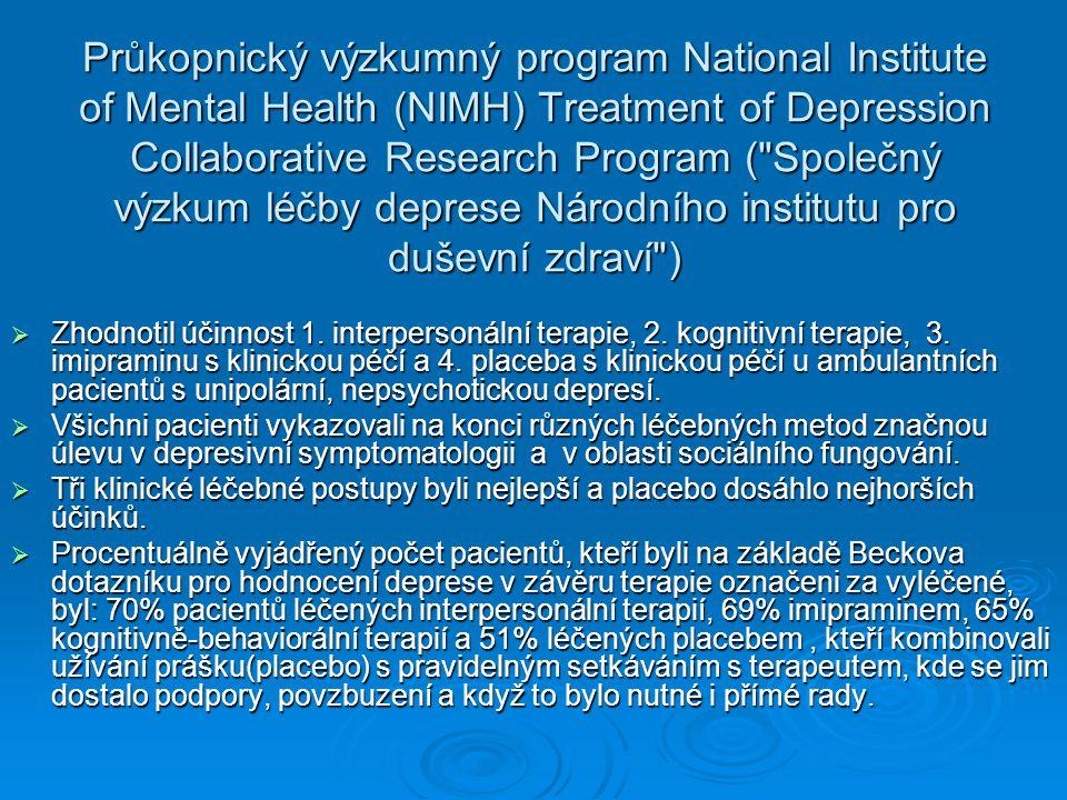 Průkopnický výzkumný program National Institute of Mental Health (NIMH) Treatment of Depression Collaborative Research Program ( Společný výzkum léčby deprese Národního institutu pro duševní zdraví )