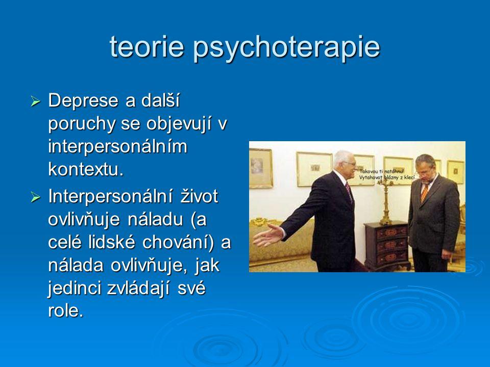 teorie psychoterapie Deprese a další poruchy se objevují v interpersonálním kontextu.