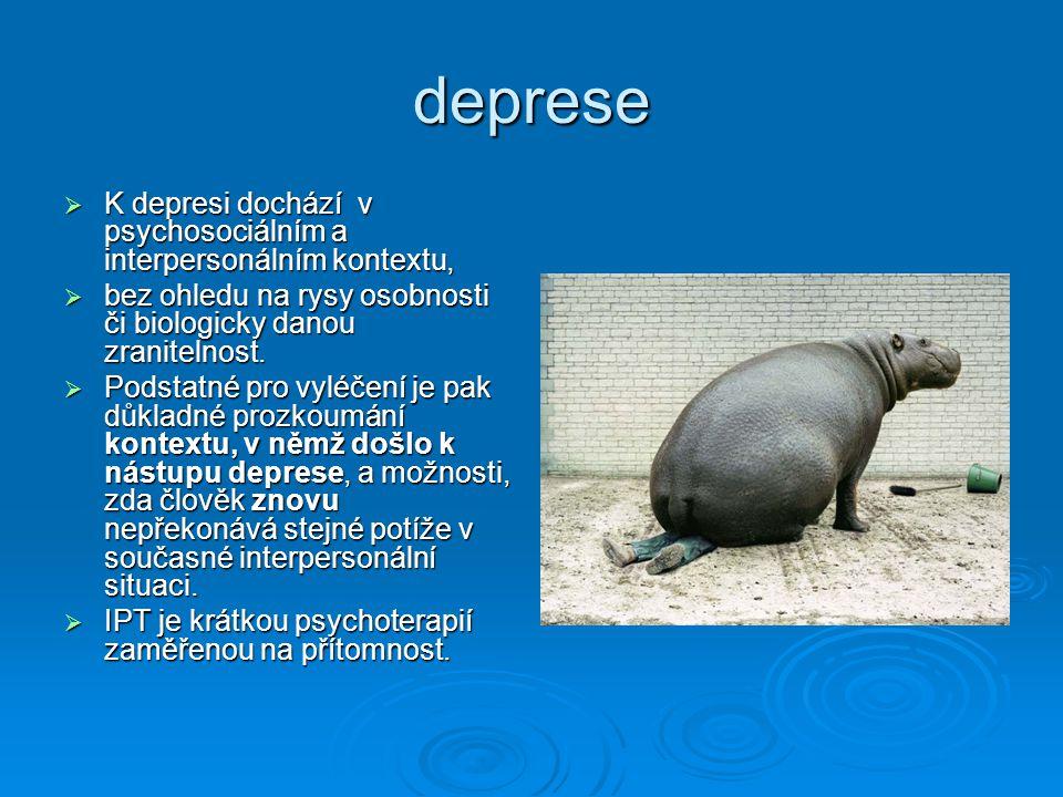 deprese K depresi dochází v psychosociálním a interpersonálním kontextu, bez ohledu na rysy osobnosti či biologicky danou zranitelnost.