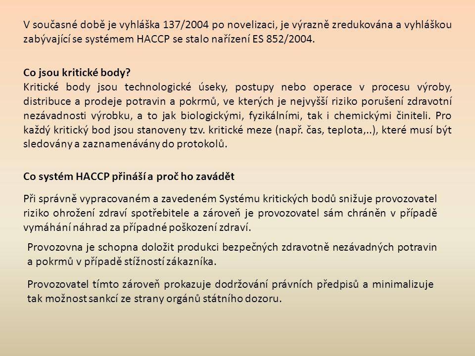 V současné době je vyhláška 137/2004 po novelizaci, je výrazně zredukována a vyhláškou zabývající se systémem HACCP se stalo nařízení ES 852/2004.