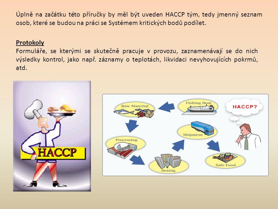 Úplně na začátku této příručky by měl být uveden HACCP tým, tedy jmenný seznam osob, které se budou na práci se Systémem kritických bodů podílet.