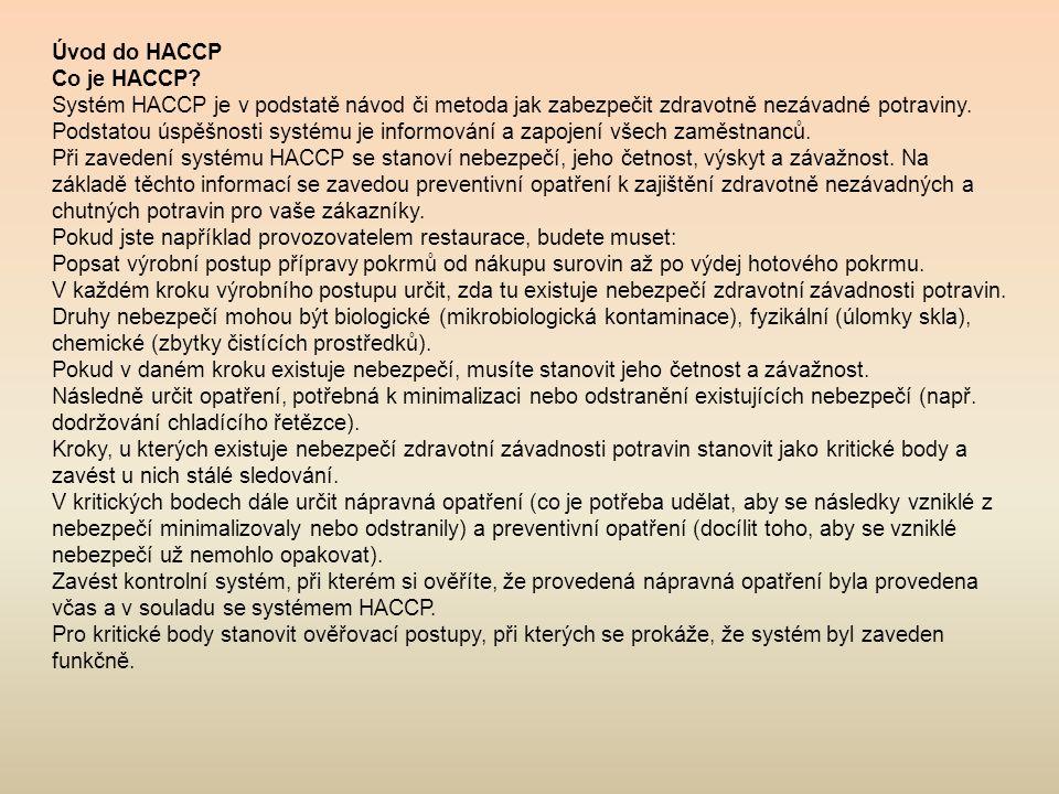 Úvod do HACCP Co je HACCP Systém HACCP je v podstatě návod či metoda jak zabezpečit zdravotně nezávadné potraviny.
