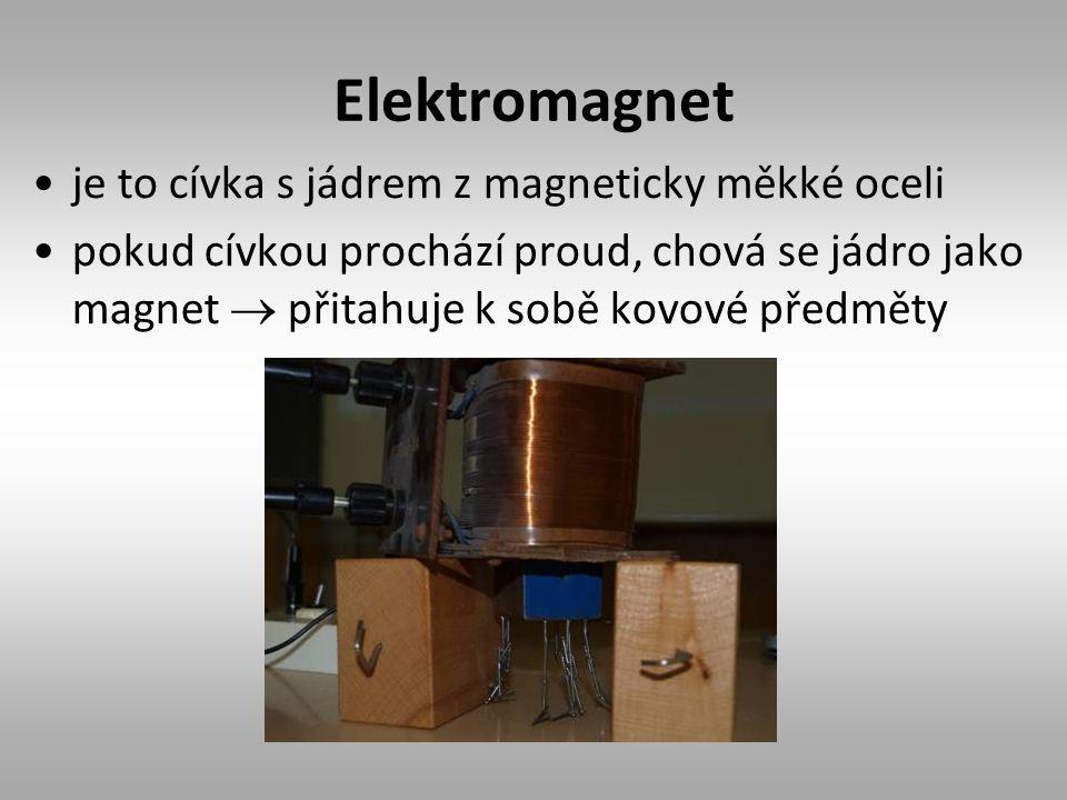 Elektromagnet je to cívka s jádrem z magneticky měkké oceli