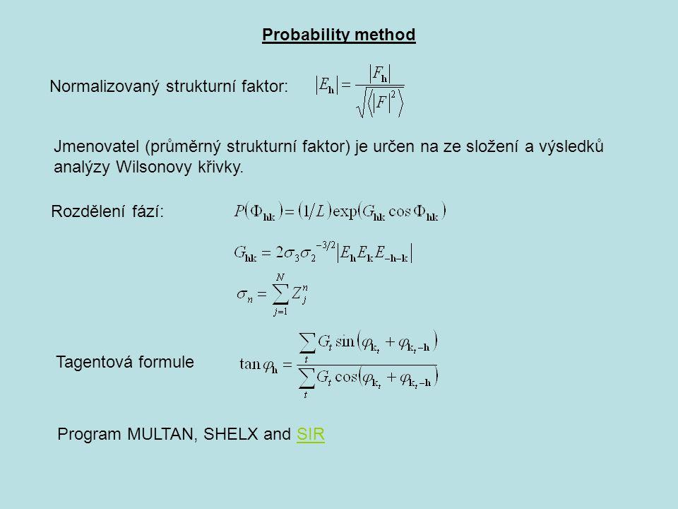 Probability method Normalizovaný strukturní faktor: