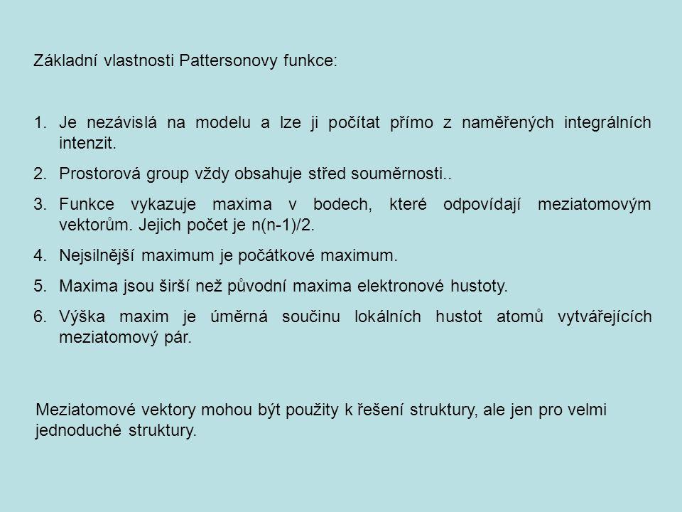 Základní vlastnosti Pattersonovy funkce: